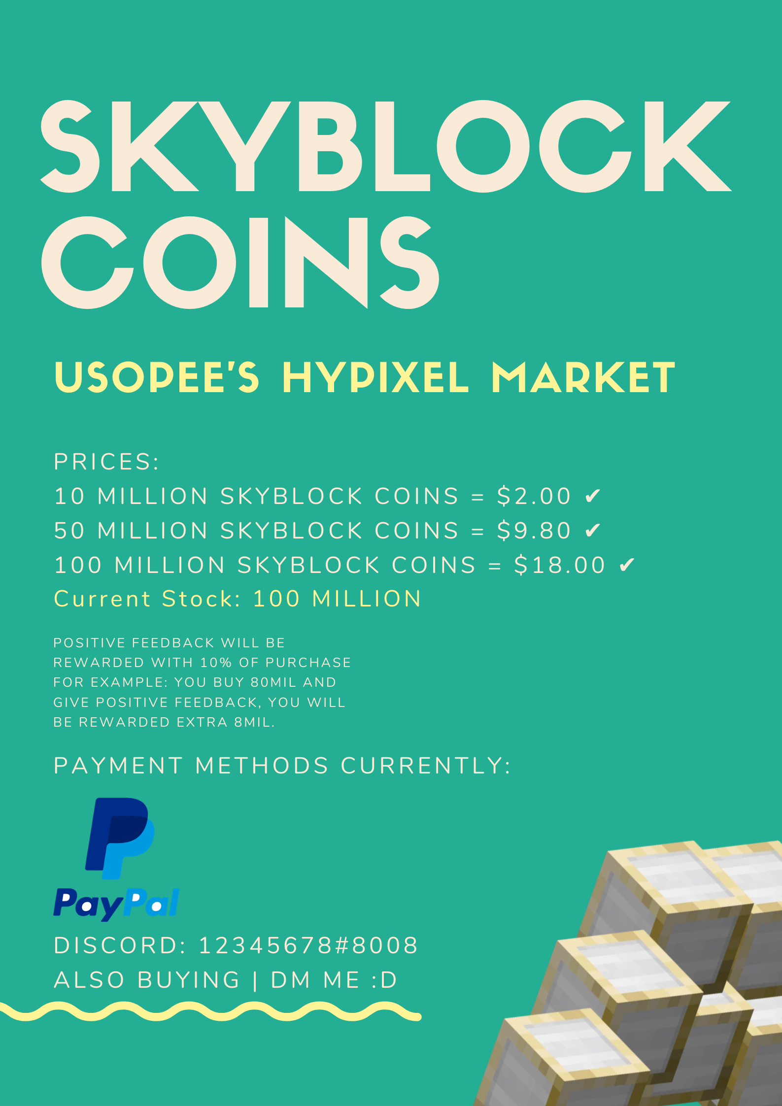 Hypixel Skyblock Coins [VERIFIED] FAST! INSTANT! ✅✅✅