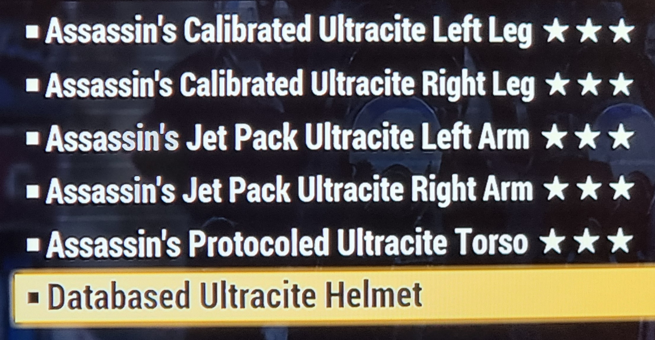 Powered sentinel assassin ultracite armor set FALLOUT 76 PS4