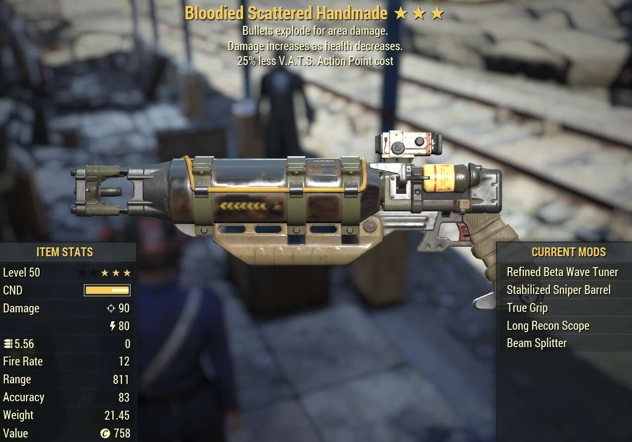 (PC)[Legendary]Bloodied Scattered Handmade  Explosive 25Less VATS