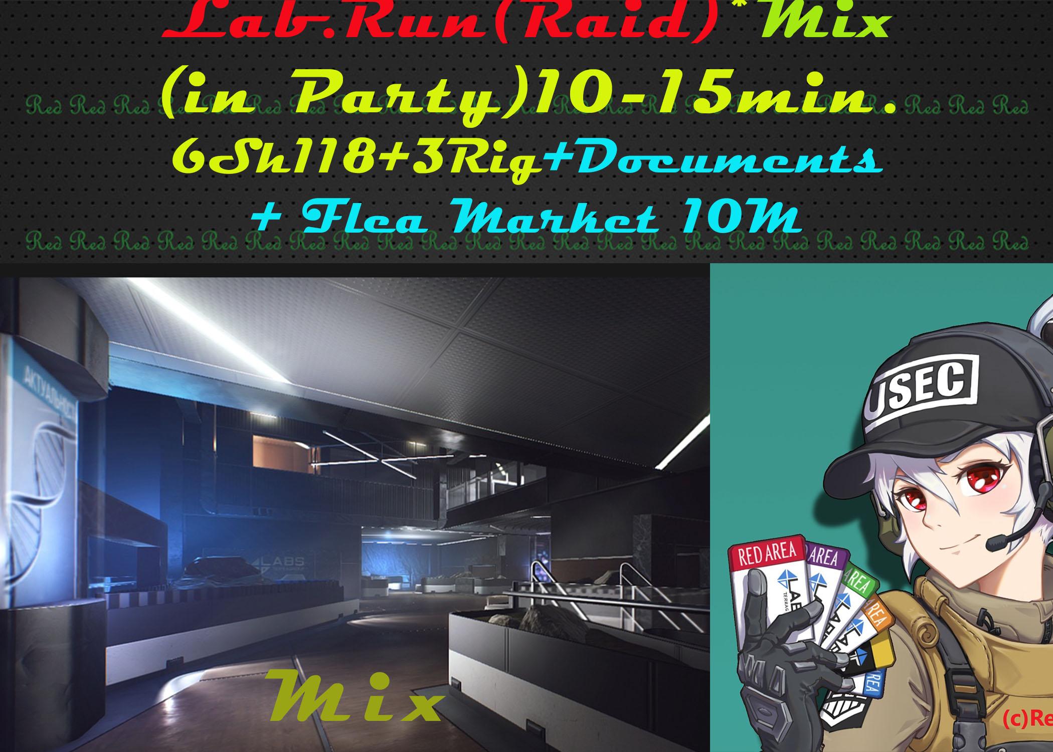 Lab.Run(Mix)(Raid)+ Flea.Market 10M(in party)20lvl!
