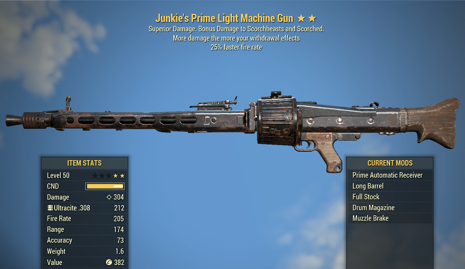Junkie's Light Machine Gun 25% faster fire rate