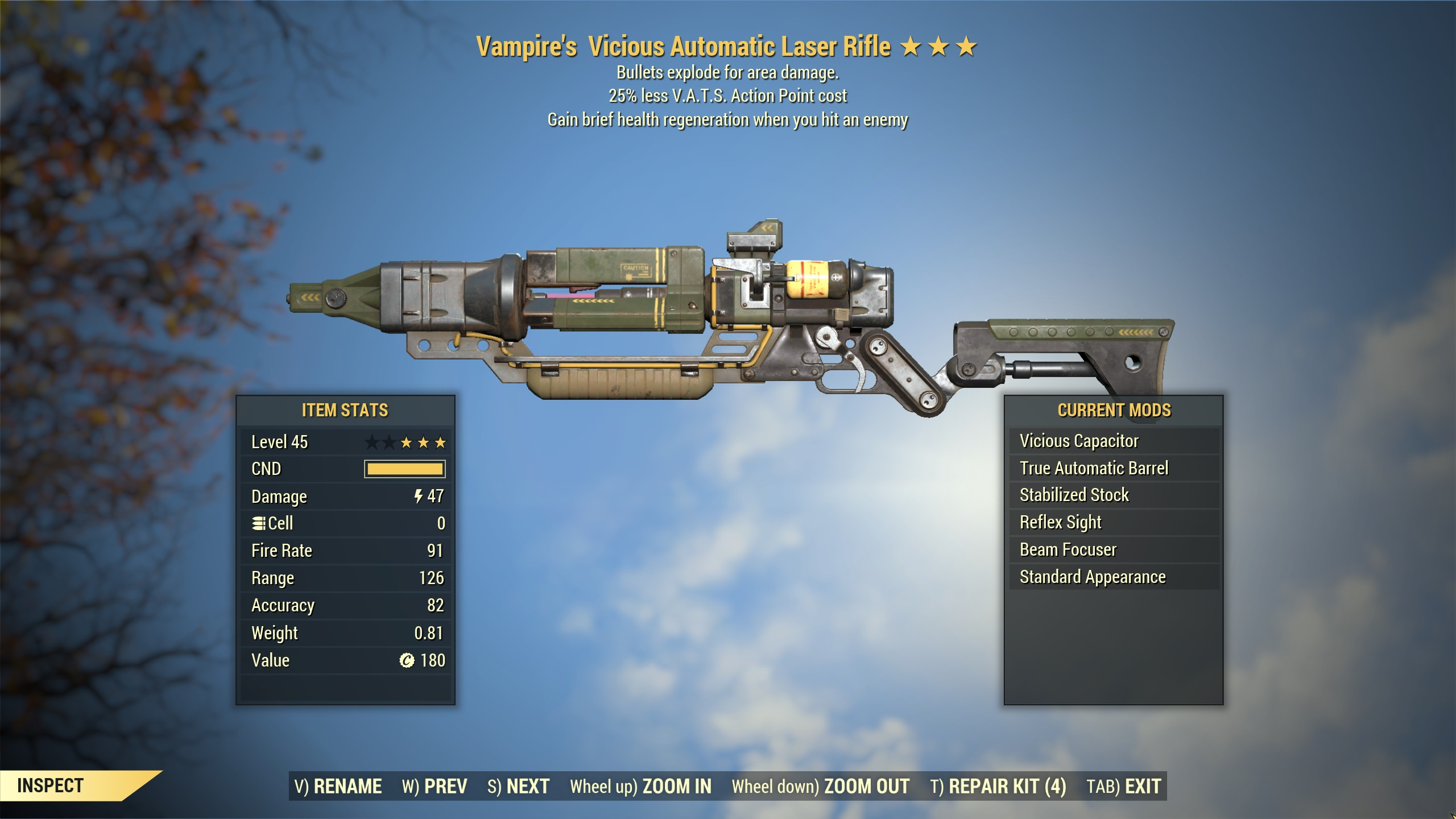 ★★★ Vampires Explosive Laser Rifle[25% Less VATS] | FULLY MODIFIED | FAST DELIVERY |