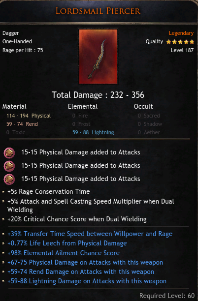 ★ BIG 356 DMG ROLL DAGGER ★ TOP 39% TRANSFER TIME ★ TOP 98% ELEMENTAL AILMENT CHANCE ★