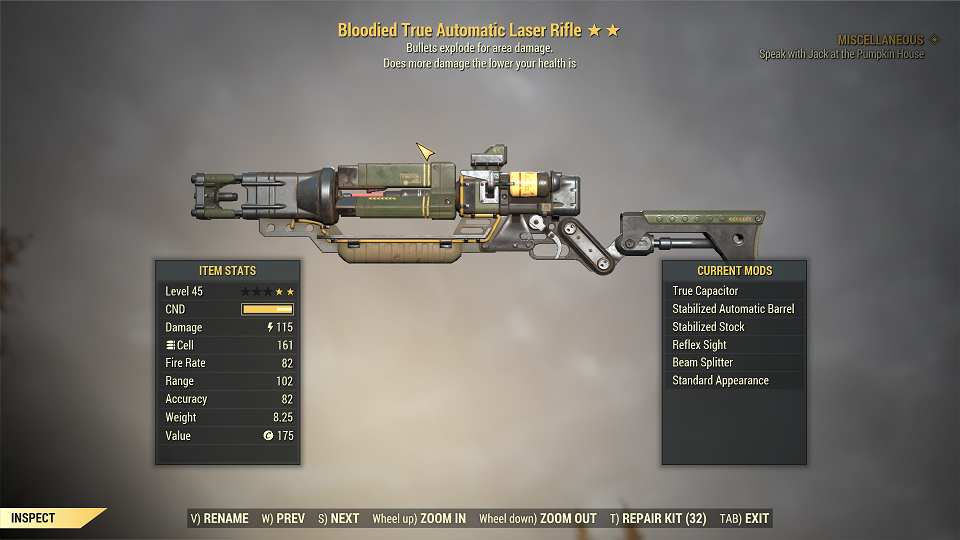 Bloodied Explosive True Automatic Laser Rifle