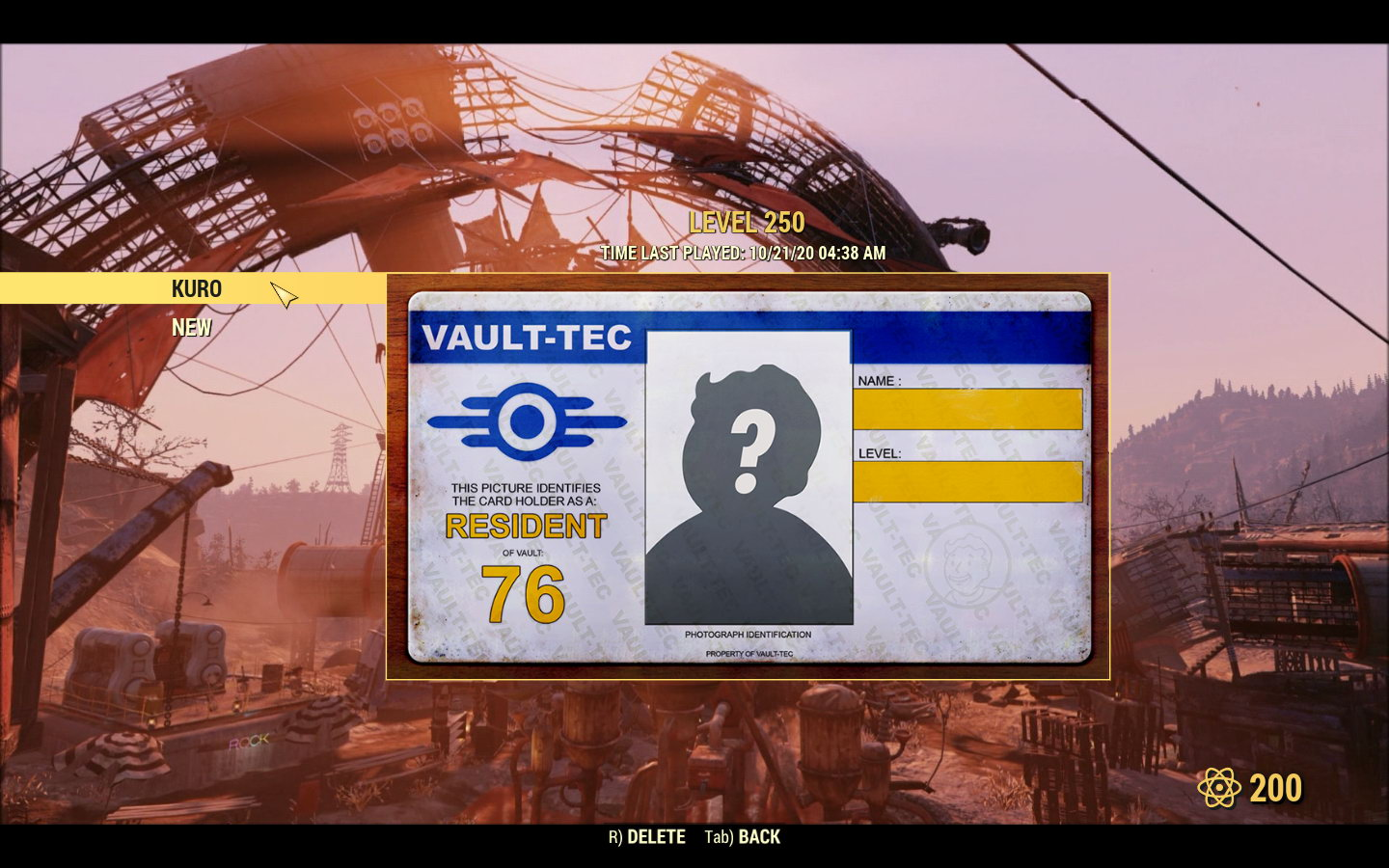 Ultimate Personal Fallout 76 account,Lvl 250, Unyielding Scout Full.AA/Bloodied/Junkie's EPL Guns