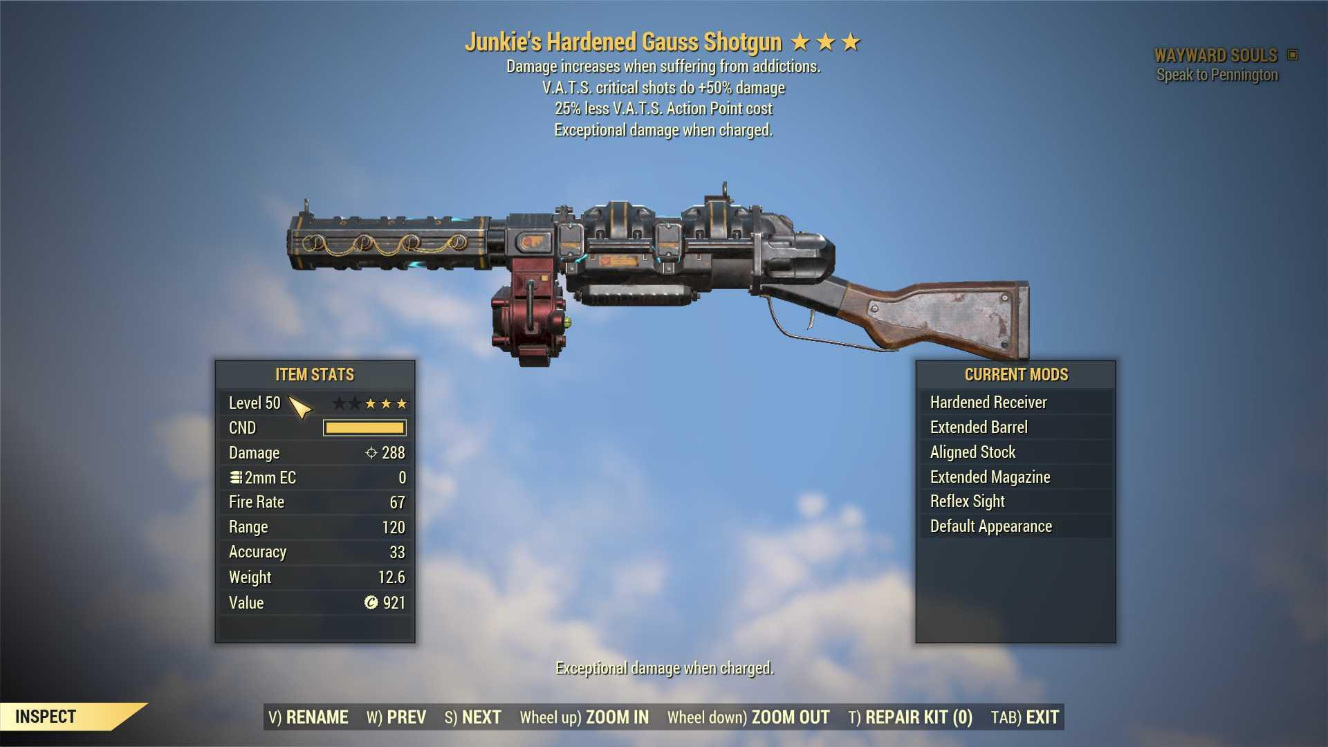 Junkie's Gauss Shotgun (+50% critical damage, 25% less VATS AP cost) FULL MODDED [Wastelanders]