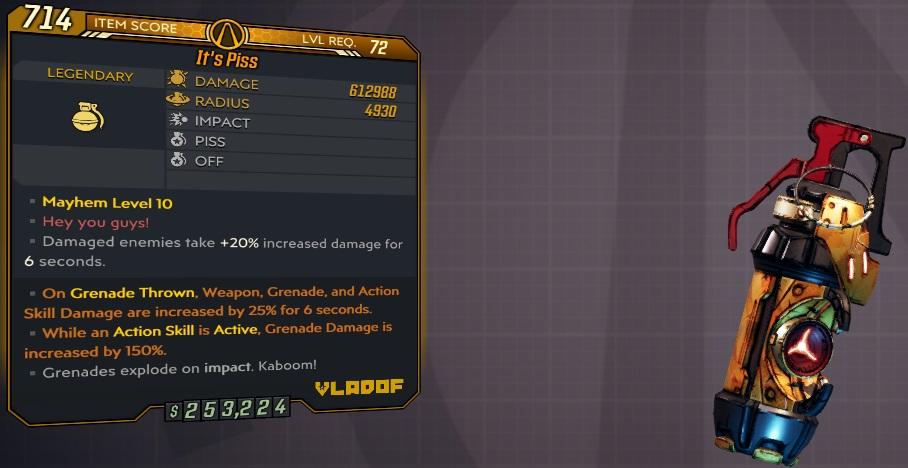 ★★★[PC/XB] M10/L72 - IT'S PISS 612.988 DMG/4930 RADIUS!!! (ENEMIES TAKE 20% INCREASED DMG)★★★