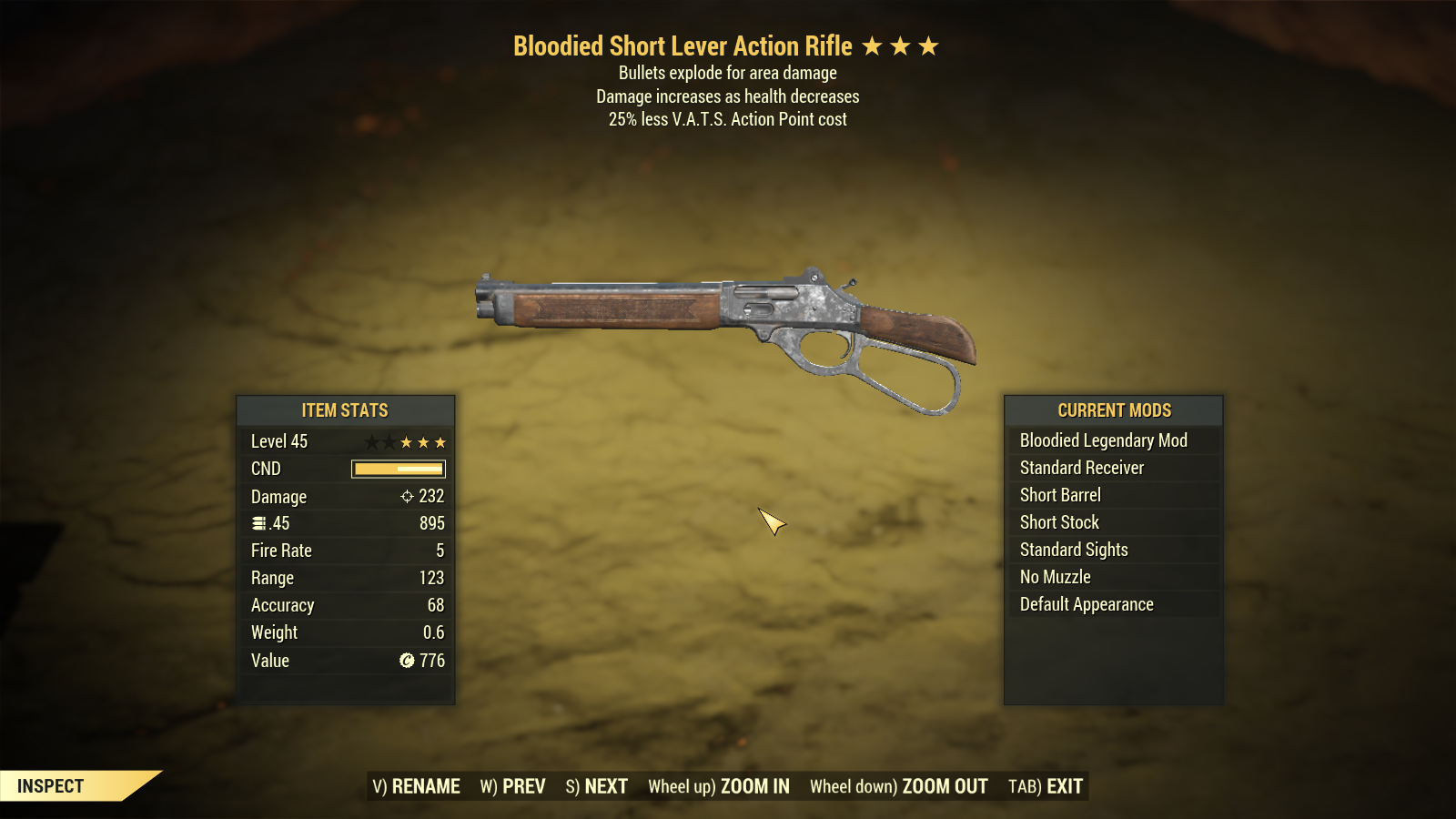 Bloodied Explosive Lever Action Rifle 25% Less VATS