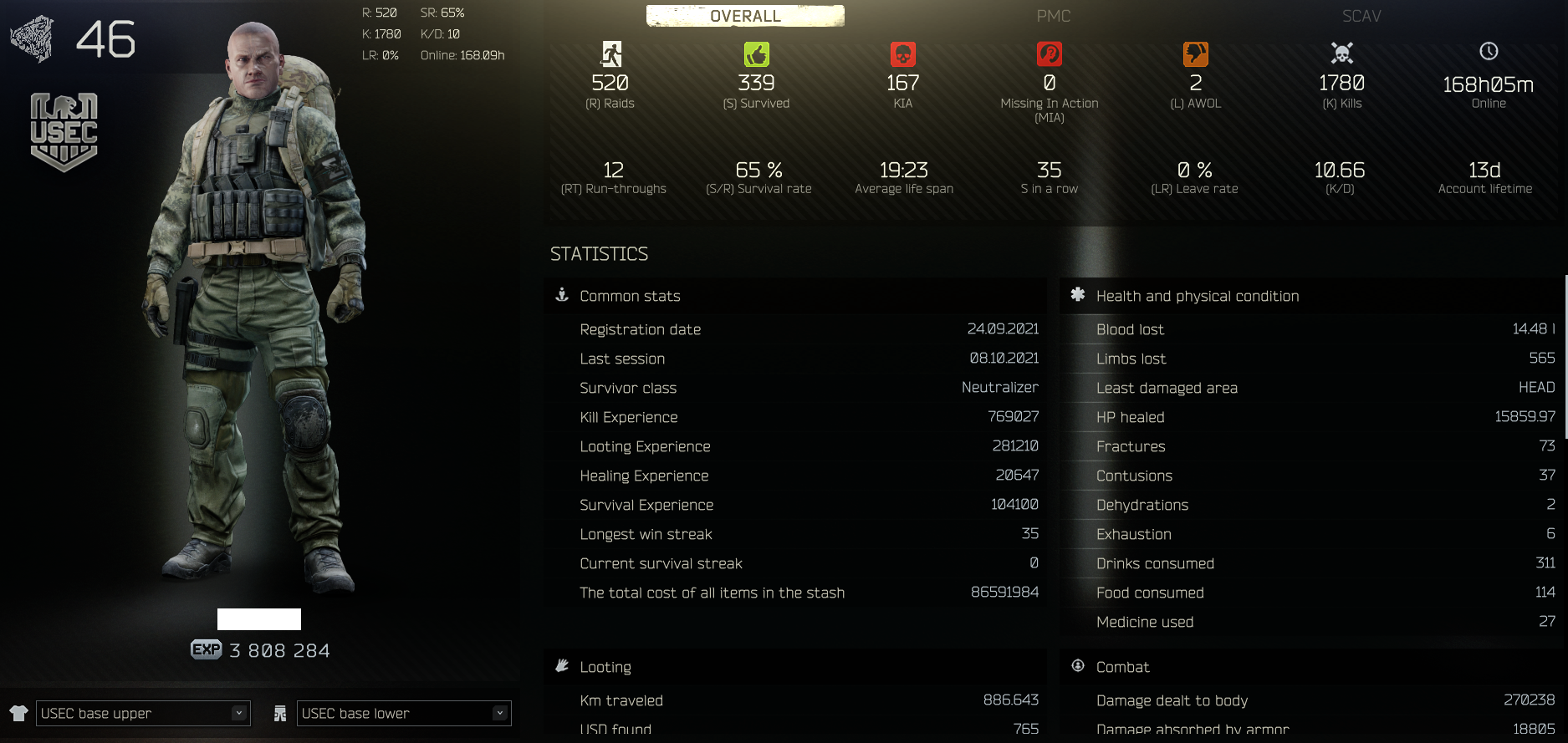 USEC 46 lvl - Full Hideout- Crown Traders-86M Stash Value-41M Roubles imgur.com/a/sS1gWf5