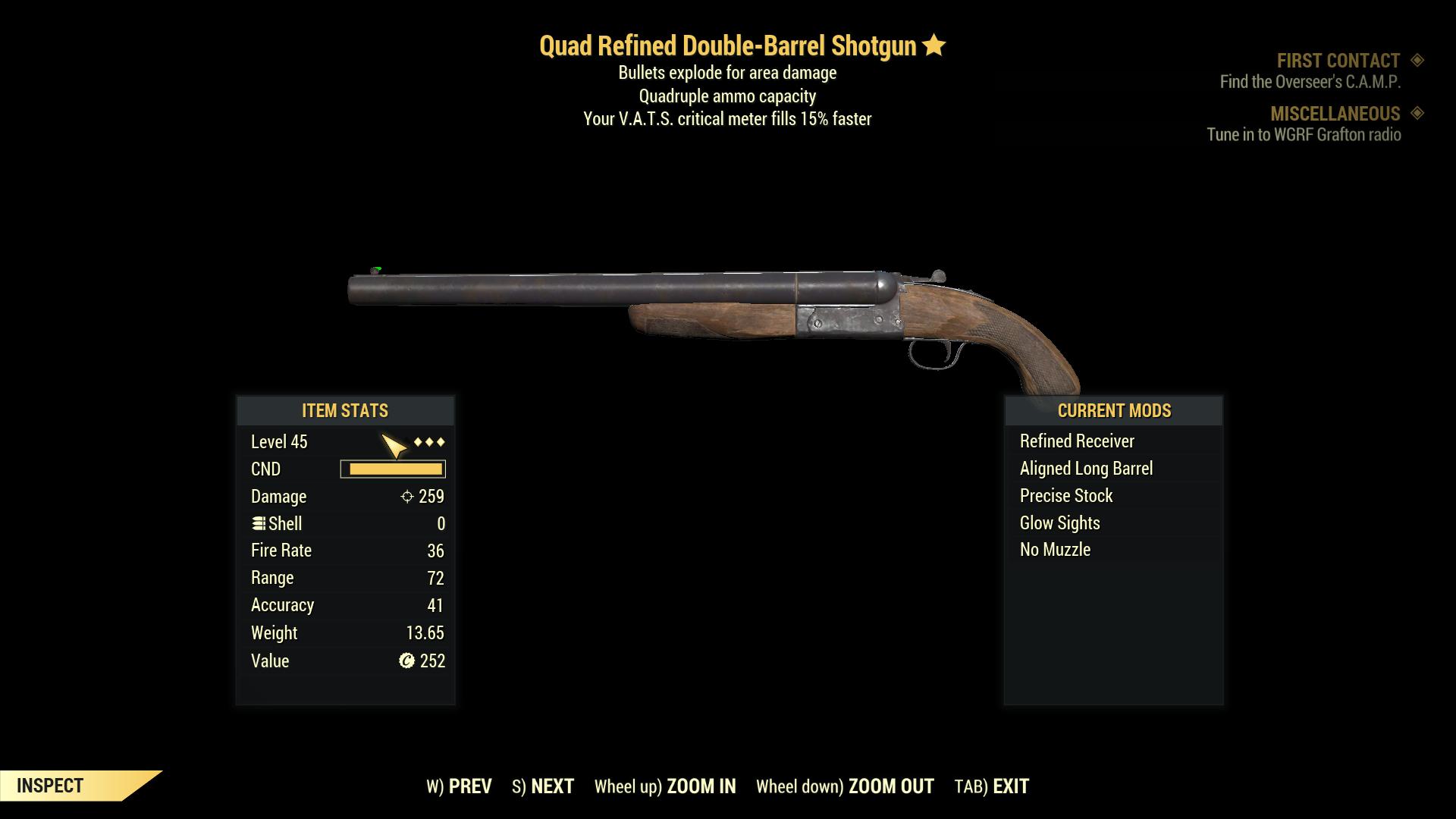 ★★★ Quad Explosive Double Barrel Shotgun[VATS Critical 15%] | FULLY MODIFIED | FAST DELIVERY |