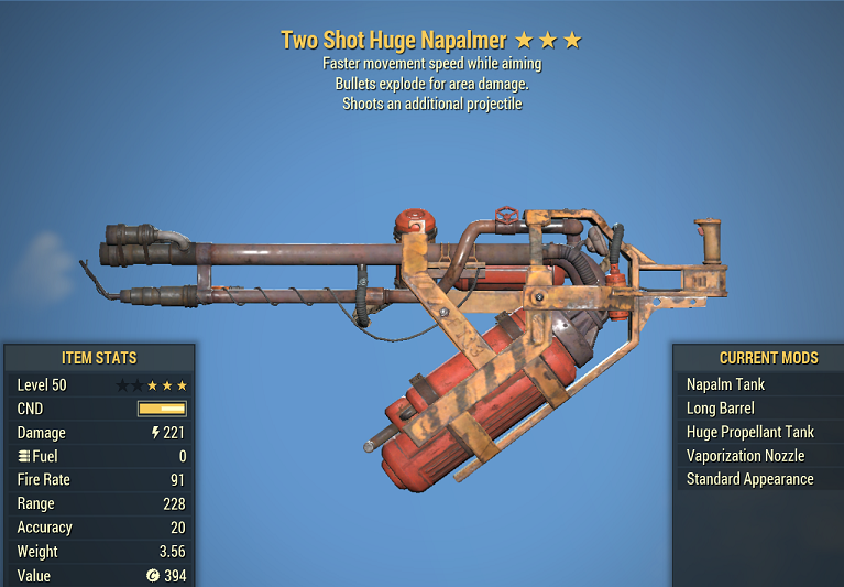 Two Shot Explosive Huge Napalmer faster movement speed while aiming