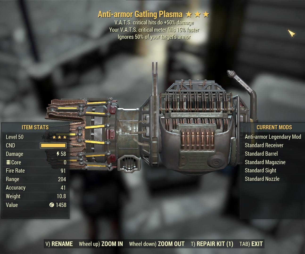 Anti-armor Gatling Plasma (VATS Crit. +50% Dmg / VATS Crit. Fills 15% Faster)