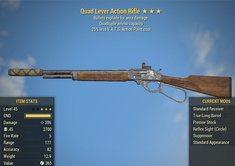 Quad Explosive Lever Action Rifle 25% less V.A.T.S. Action Point cost