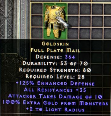 ★ Goldskin Full Plate Mail- D2R - Softcore ★  1-PC