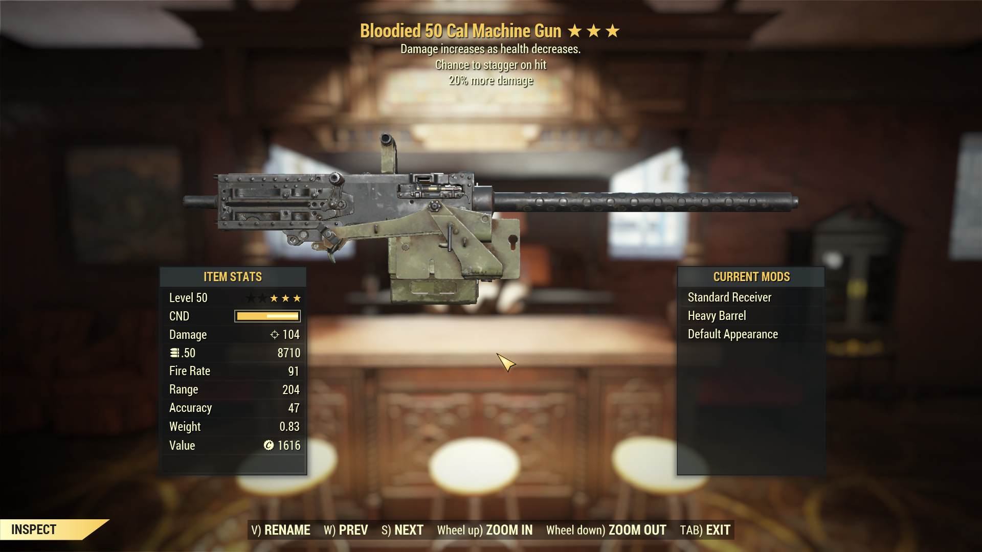 [Very Rare] Bloodied Stagger .50 Cal Machine Gun 20% more damage
