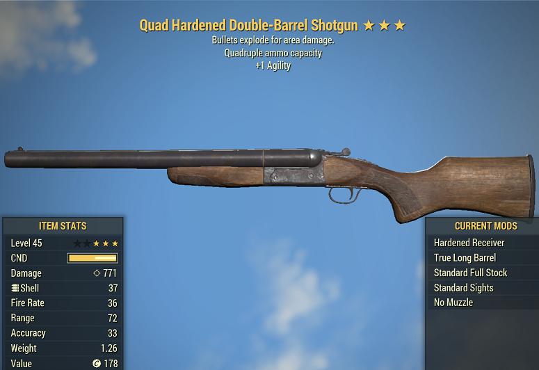 Quad Explosive Hardened Double-Barrel Shotgun +1 Agility 45 level