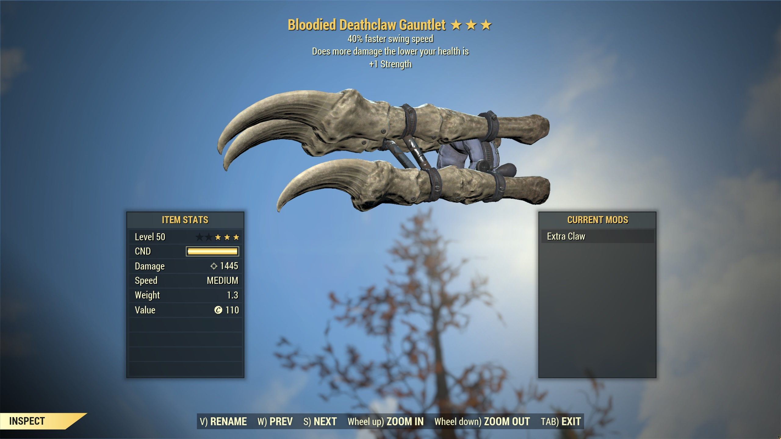 ★★★ Bloodied Deathclaw Gauntlet[40% Faster Swing][+1 STR] | FAST DELIVERY |