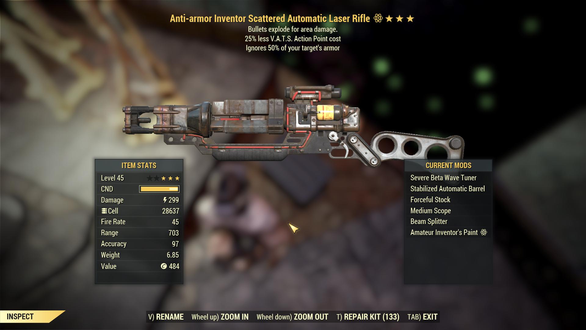 Anti-armor Explosive Laser Rifle 25% less vats AP cost HUGE DAMAGE and RANGE