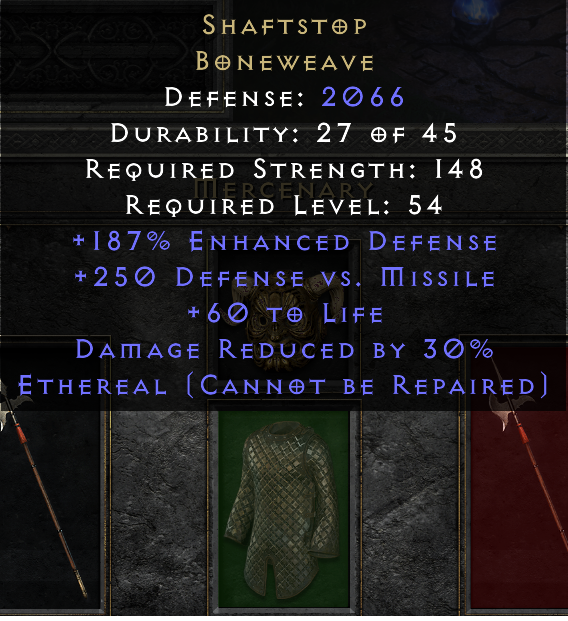 Eth Ethereal SHAFTSTOP UPGRADED ELITE 2000+ DEF 30% DR Mesh to Boneweave!!! RARE FAST Delivery!