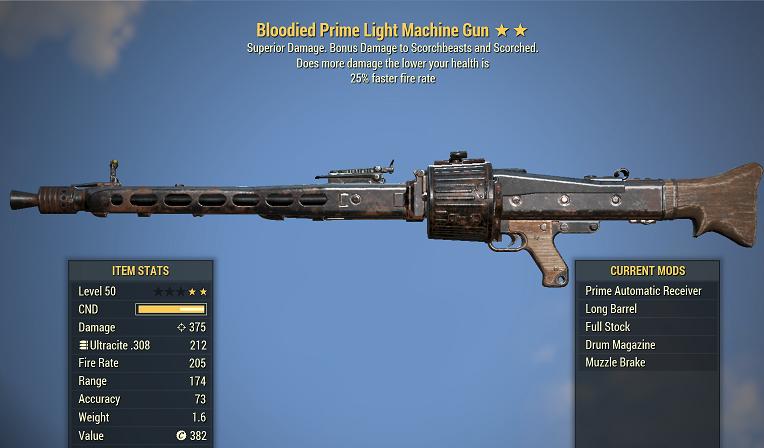 Bloodied Light Machine Gun 25% faster fire rate