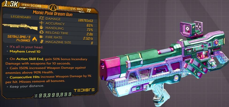 ★★★[PC/XB] M10/L72 - PIXIE DREAM GUN 189.791x53 DMG (+597k FIRE DMG) - ANOINTED x3 - INSANE!!!★★★