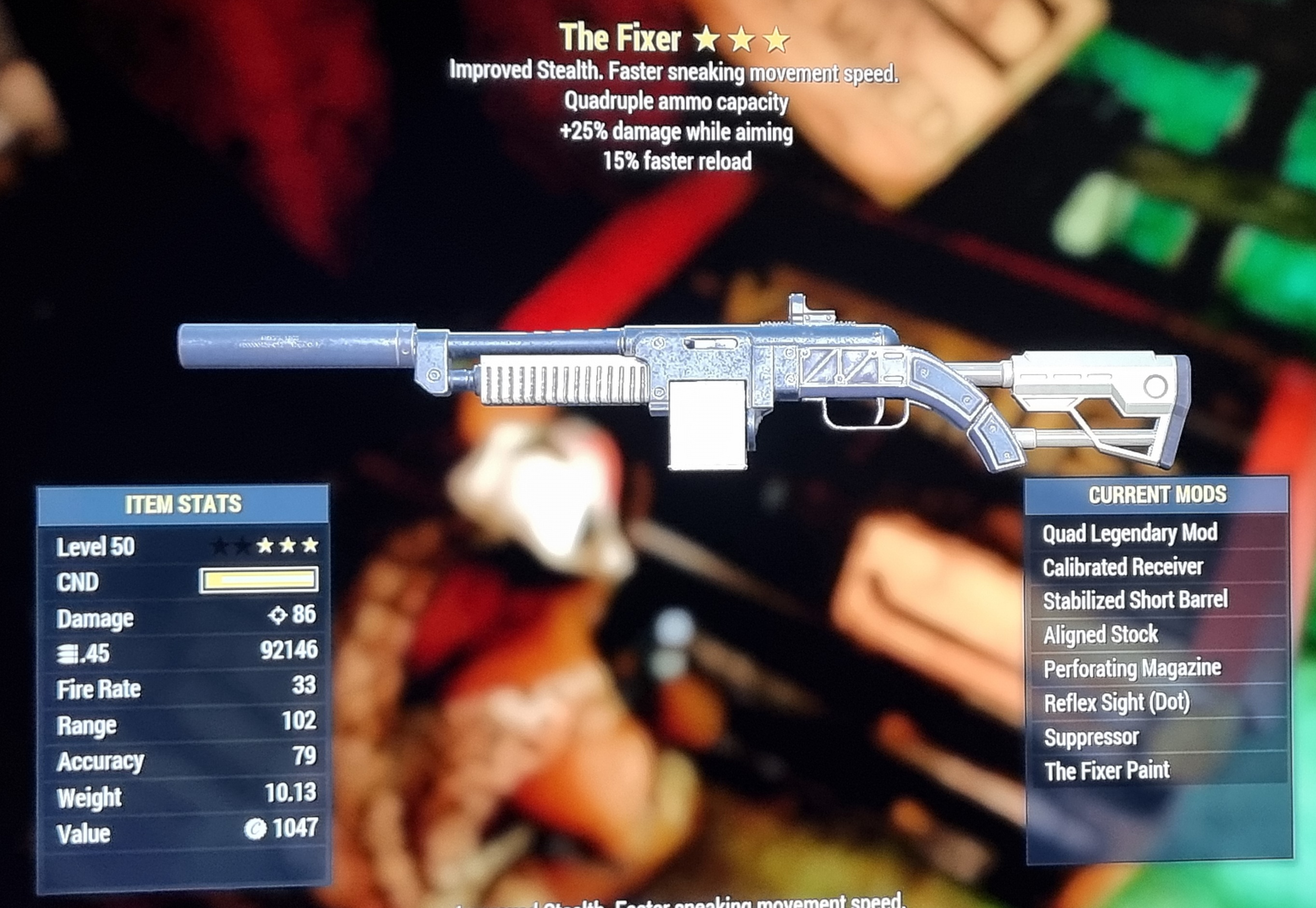 Quad +25% damage while aiming 15% faster reload FIXER FALLOUT 76 PS4