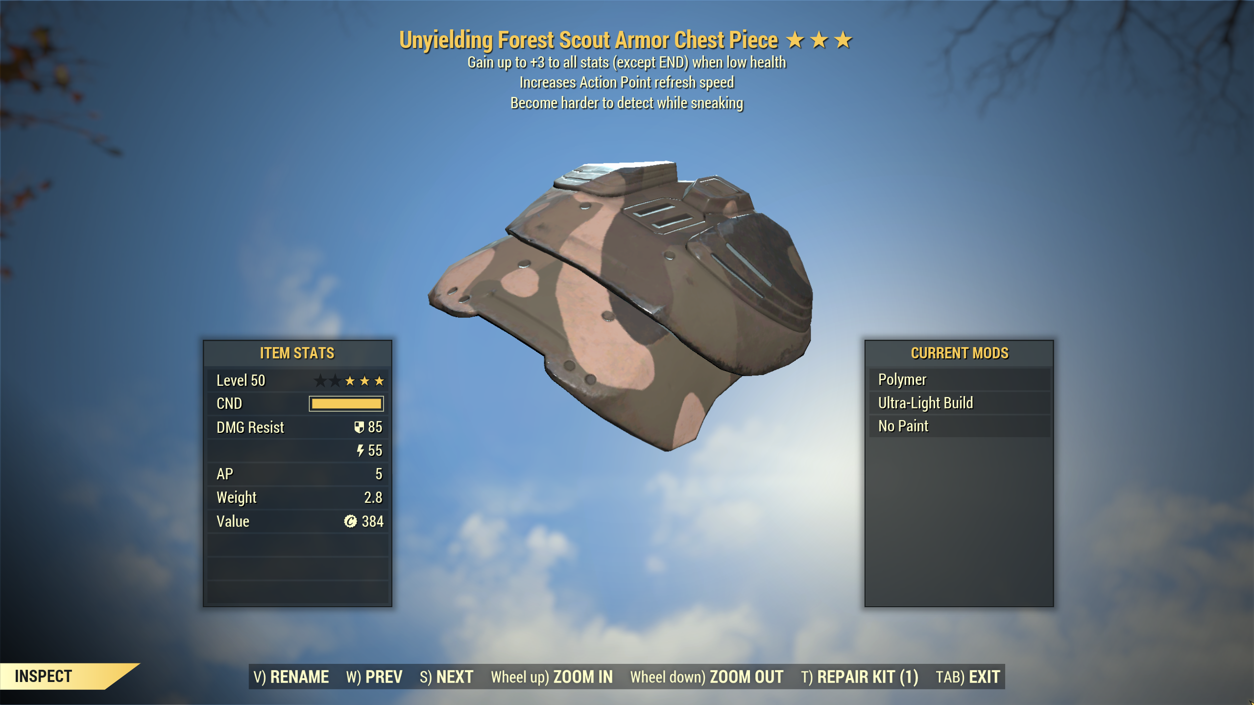 ★★★ Unyielding Sneak Scout Armor SET[5/5 AP Refresh][Forest]   FULLY MODIFIED FAST DELIVERY  