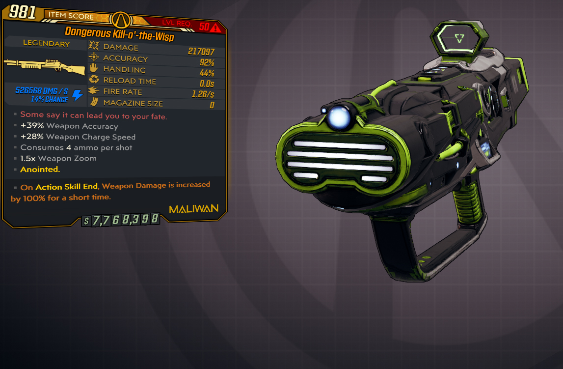 [PC] Kill-o`-the-Wisp / 200k DMG / Infinitie ammo / Instant Charge !!! Click = Shot !!! - Fast Deliv