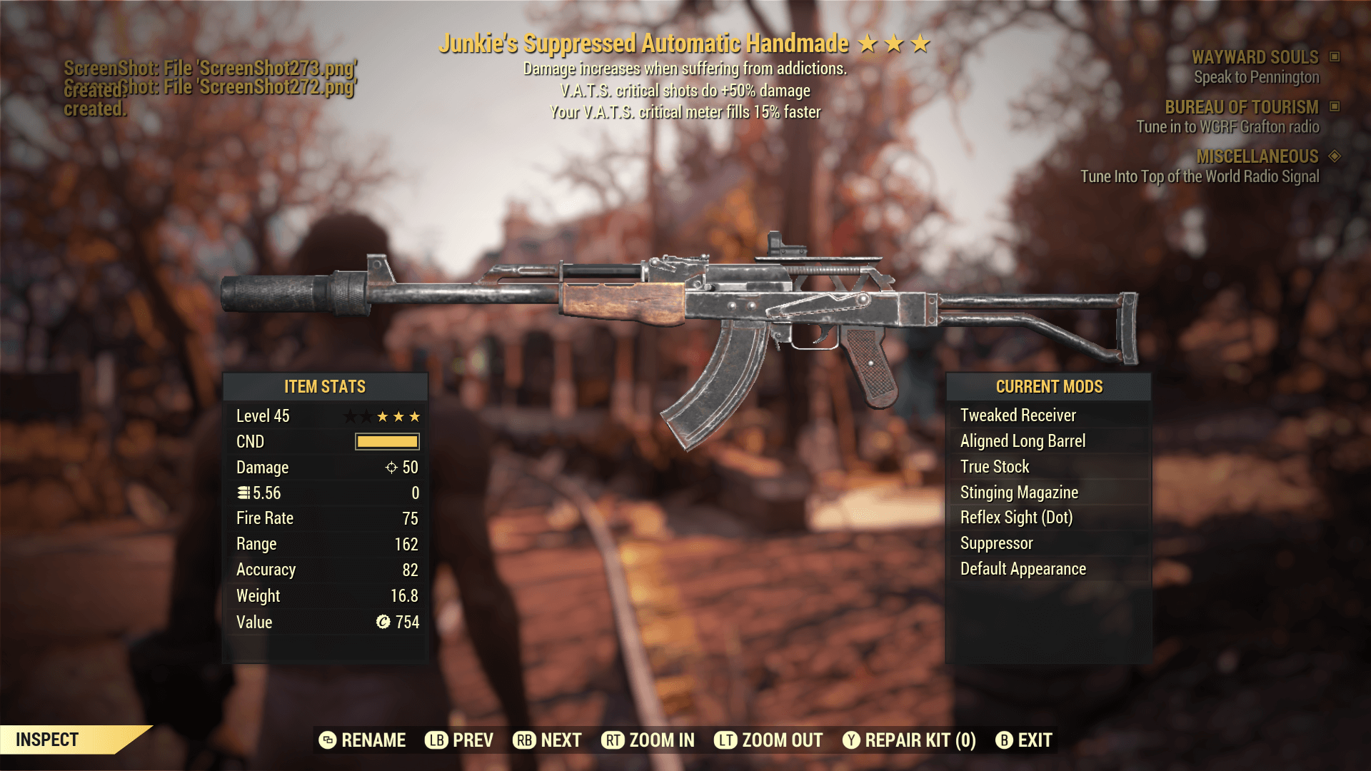 Junkie's Suppressed Automatic Handmade[V.A.T.S.critical shots do +50% damage][Your V.A.T.S.critical
