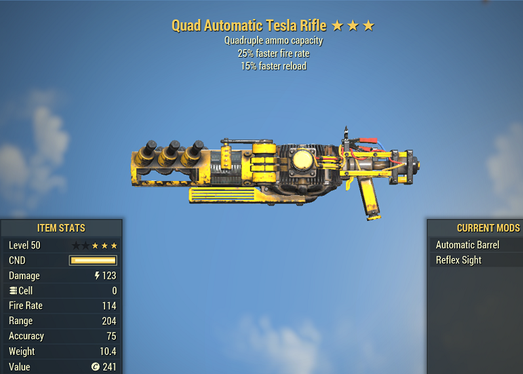 Quad Tesla Rifle 25% faster fire rate 15% faster reload