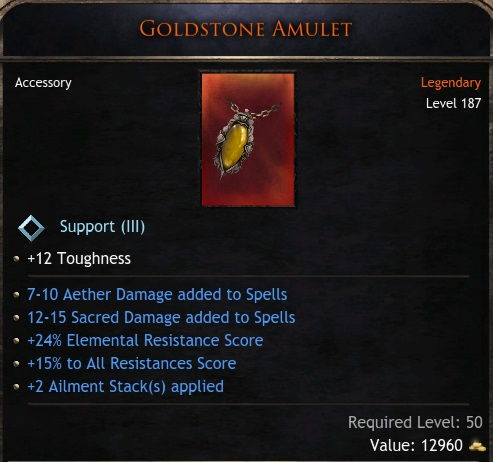 ★★★AMULET +2 AILMENT STACKS (7-10 ather spell dmg, 12-15 sacred spell, 24% ele res) - Bloodtrail★★★