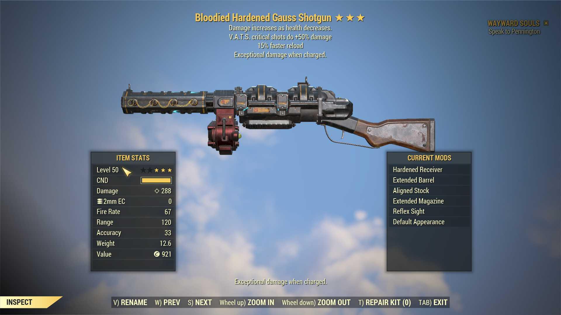 Bloodied Gauss Shotgun (+50% critical damage, 15% faster reload) FULL MODDED [Wastelanders]