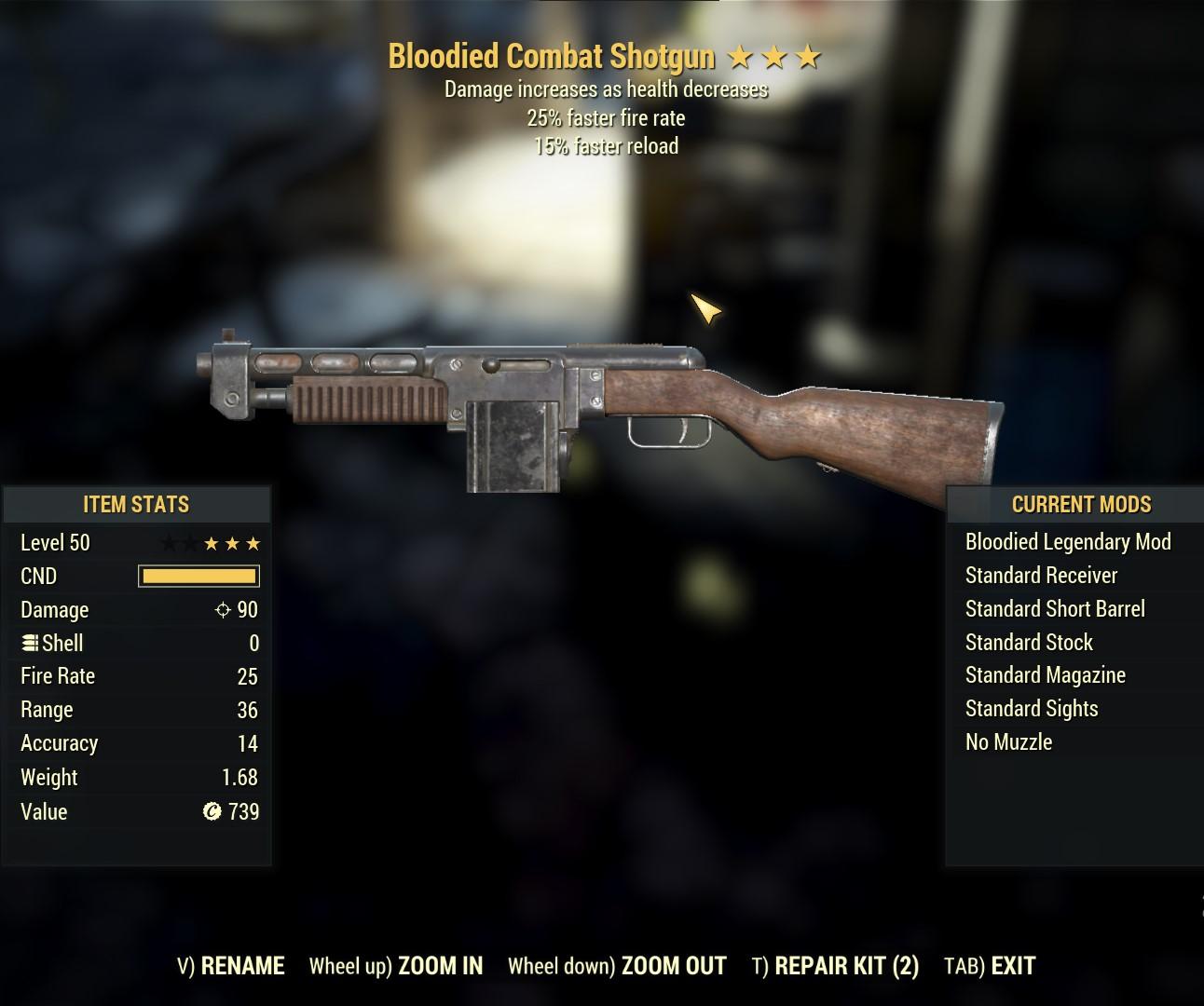 Bloodied Combat Shotgun (25% FFR 15% FR)