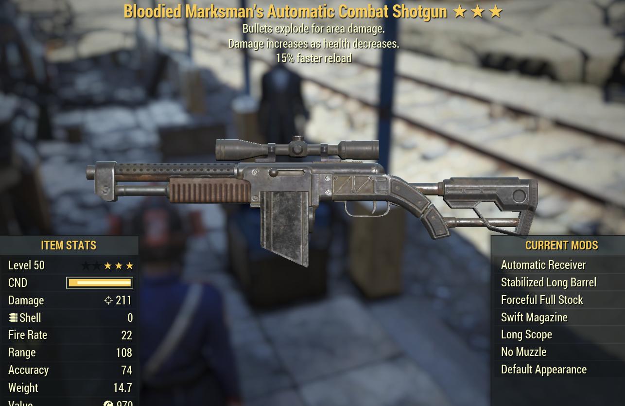 (PC)[Legendary] Bloodied Marksmans Automatic Combat Shotgun Explosive 15FR