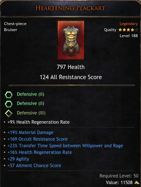 ★★★CHEST 797 HP 124 RES (19% mat dmg, 169 occult res, 23% Transfer Time, 16% hpreg) - Bloodtrail★★★