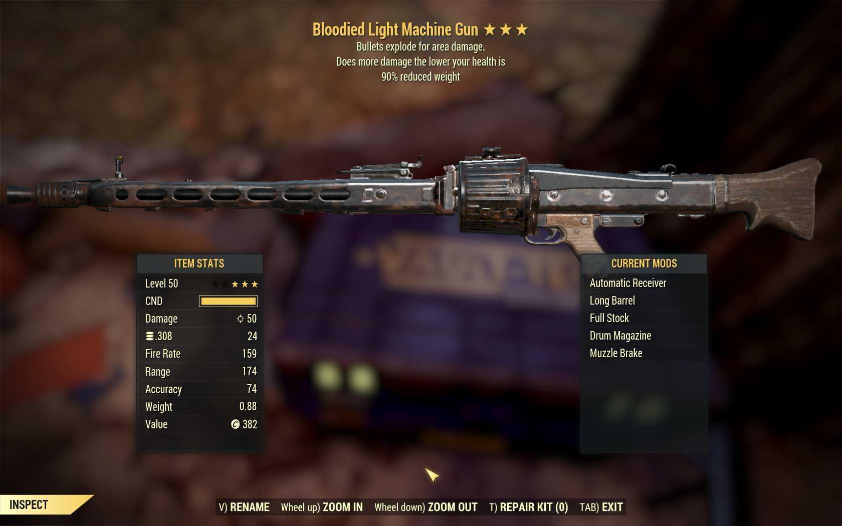 Bloodied Explosive Light Machine Gun (LMG) (90% reduced weight)
