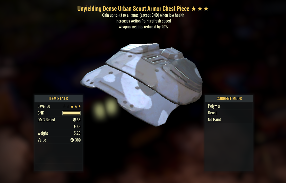 [PC] Unyielding Weapon Weights (Urban Scout, 5/5 AP Refresh)  - Fast Delivery
