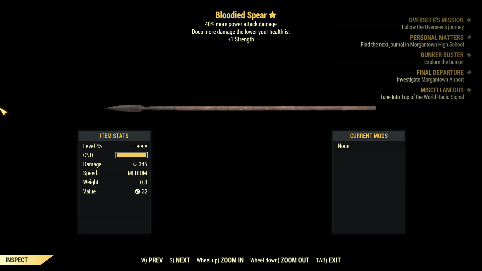★★★ Bloodied Spear[40% More Power Attack Damage][+1 STR] | FAST DELIVERY |