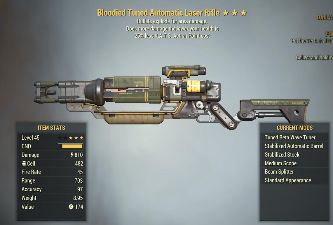 [PC]  Bloodied Explosive Laser rifle 25% Less Vats