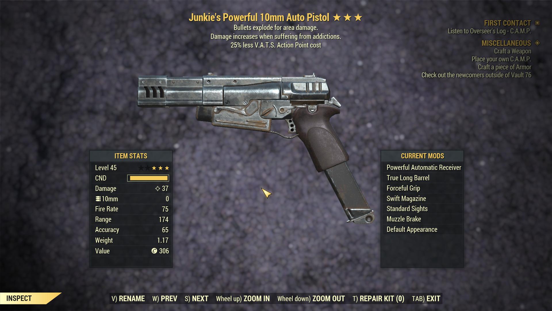 [PC] Junkie 10mm Pistol Explosive [ 25% Less VATS AP]