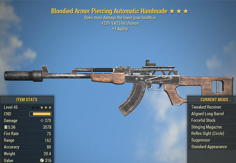 Bloodied Handmade +33% V.A.T.S. hit chance +1 Agility