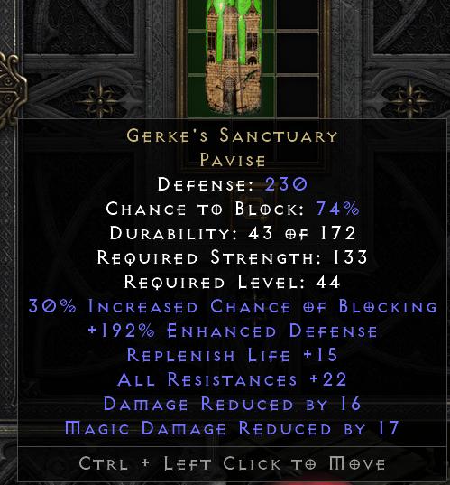 Gerke's Sanctuary Shield - D2R PC