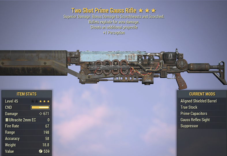 Two Shot Explosive Prime Gauss Rifle +1 Perception