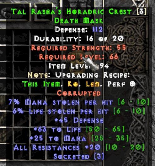 Tal Rasha's Horadric Crest helm 20 all res +3os