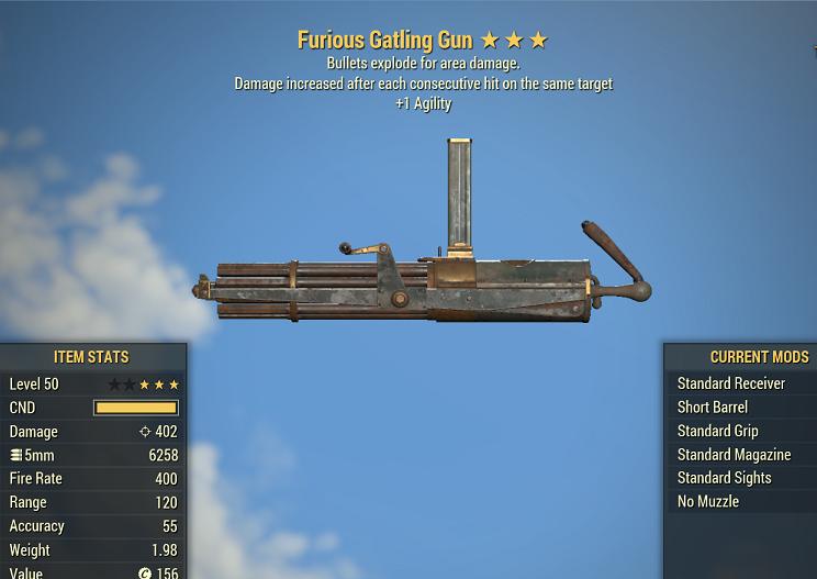 Furious Explosive Gatling Gun +1 Agility